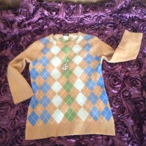 J. Crew 100% cashmere Argyle sweater